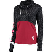 Women's Colosseum Black/Crimson Oklahoma Sooners Scaled Cowl Neck Pullover Hoodie