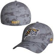 Men's Under Armour Steel Navy Midshipmen Bark Renegade Structured Flex Hat