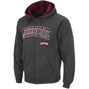Men's Stadium Athletic Charcoal Mississippi State Bulldogs Arch & Logo Full Zip Hoodie