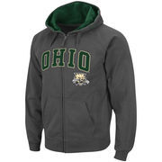 Men's Stadium Athletic Charcoal Ohio Bobcats Arch & Logo Full Zip Hoodie