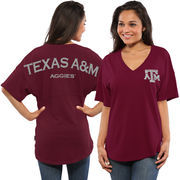 Women's Maroon Texas A&M Aggies Oversized Short Sleeve Spirit Jersey V-Neck Top