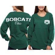 Women's Ohio Bobcats Green Pom Pom Jersey Oversized Long Sleeve T-Shirt