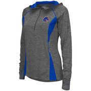 Women's Colosseum Charcoal Boise State Broncos Monet Windshirt Quarter-Zip Pullover Jacket