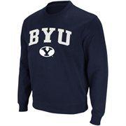 Mens BYU Cougars Navy Blue Arch Logo Crew Sweatshirt