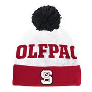 Men's adidas White/Red NC State Wolfpack 2-Tone Cuffed Knit Hat with Pom