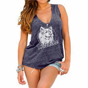 Womens UConn Huskies Original Retro Brand Navy Blue Relaxed Henley Tank Top