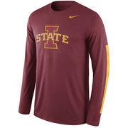 Men's Nike Cardinal Iowa State Cyclones Legend DNA Wordmark Long Sleeve Performance T-Shirt