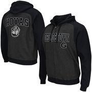 Men's Colosseum Black Georgetown Hoyas Crest Full Zip Hoodie