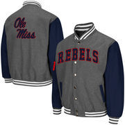Men's Colosseum Charcoal Ole Miss Rebels Class Letterman II Jacket
