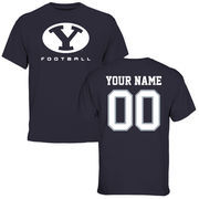 Men's Navy BYU Cougars Personalized Football T-Shirt