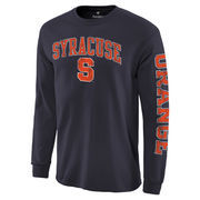 Men's Navy Syracuse Orange Distressed Arch Over Logo Long Sleeve Hit T-Shirt