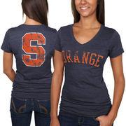 Syracuse Orange Women's Slab Serif Tri-Blend V-Neck T-Shirt - Navy Blue