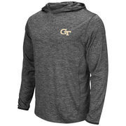 Men's Colosseum Heathered Gray Georgia Tech Yellow Jackets Action Long Sleeve Hooded T-Shirt
