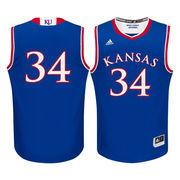 Men's adidas #34 Royal Kansas Jayhawks Replica Basketball Jersey