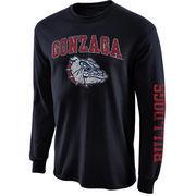 Mens Gonzaga Bulldogs Navy Blue Arch & Logo Long Sleeve T-Shirt
