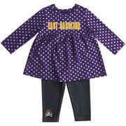 Girls Infant Colosseum Purple East Carolina Pirates Shining Polka Dot Dress Set