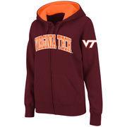Women's Stadium Athletic Maroon Virginia Tech Hokies Arched Name Full-Zip Hoodie