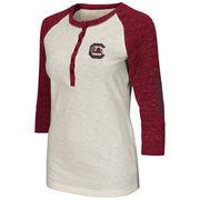 Women's Colosseum Cream South Carolina Gamecocks Chevelle Henley Three-Quarter Length T-Shirt