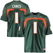 Men's Nike #1 Green Miami Hurricanes Vintage Replica Jersey