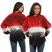 Women's Red Georgia Bulldogs Ombre Long Sleeve Dip-Dyed Spirit Jersey