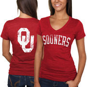 Oklahoma Sooners Women's Slab Serif Tri-Blend V-Neck T-Shirt - Crimson