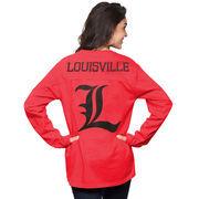 Women's Red Louisville Cardinals The Big Shirt Oversized Long Sleeve T-Shirt