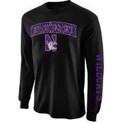 Men's New Agenda Black Northwestern Wildcats Distressed Arch & Logo Long Sleeve T-Shirt