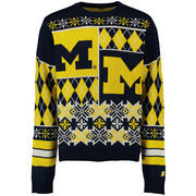 Unisex Klew Navy Michigan Wolverines Thematic Ugly Sweater