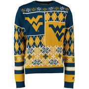 Unisex Klew Navy West Virginia Mountaineers Thematic Ugly Sweater