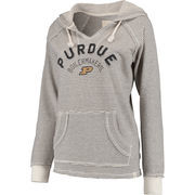 Women's Blue 84 Cream Purdue Boilermakers Striped French Terry V-Neck Hoodie