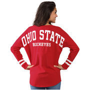 Women's Scarlet Ohio State Buckeyes Ohio State Cheer Long Sleeve Jersey T-Shirt