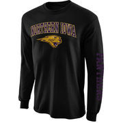 Men's New Agenda Black Northern Iowa Panthers Distressed Arch & Logo Long Sleeve T-Shirt