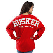 Women's Red Nebraska Cornhuskers Football Sweeper Long Sleeve Oversized Top