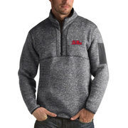 Men's Antigua Heathered Charcoal Ole Miss Rebels Fortune 1/2-Zip Pullover Sweater