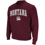 Men's Stadium Athletic Maroon Montana Grizzlies Arch & Logo Crew Pullover Sweatshirt
