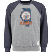 Men's Original Retro Brand Heather Gray Illinois Fighting Illini Vintage Color Block Tri-Blend Sweatshirt