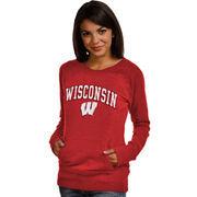Women's New Agenda Red Wisconsin Badgers Crew Neck Fleece Pullover