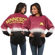 Women's Maroon Minnesota Golden Gophers Ombre Long Sleeve Dip-Dyed Spirit Jersey