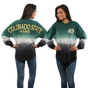 Women's Green Colorado State Rams Ombre Long Sleeve Dip-Dyed Spirit Jersey