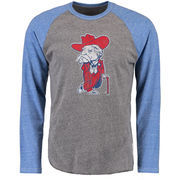 Men's Original Retro Brand Heathered Gray/Heathered Royal Ole Miss Rebels Tri-Blend Raglan Long Sleeve T-Shirt