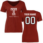 Women's Cardinal Temple Owls Personalized Football Slim Fit T-Shirt
