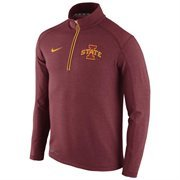 Men's Nike Crimson Iowa State Cyclones 2015 Football Coaches Sideline Half-Zip Tri-Blend Performance Knit Top