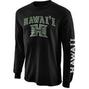 Mens Hawaii Warriors Black Arch & Logo Long Sleeve T-Shirt