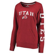 Women's Fanatics Branded Heathered Red Utah Utes Distressed Arch Over Logo