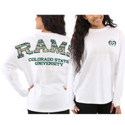 Women's Colorado State Rams White Aztec Sweeper Long Sleeve Oversized Top