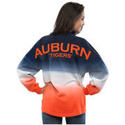 Women's Navy Auburn Tigers Ombre Long Sleeve Dip-Dyed Spirit Jersey