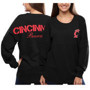 Women's Cincinnati Bearcats Black Pom Pom Jersey Oversized Long Sleeve T-Shirt