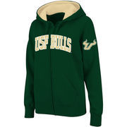 Women's Stadium Athletic Green South Florida Bulls Arched Name Full-Zip Hoodie