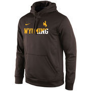 Men's Nike Brown/White Wyoming Cowboys KO Performance Fleece Pullover Hoodie