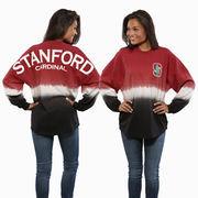 Women's Cardinal Stanford Cardinal Ombre Long Sleeve Dip-Dyed Spirit Jersey